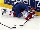 Zajímavá momentka z utkání Francie s Dánskem na hokejovém MS.