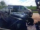 Pětapadesátiletý řidič narazil na D1 u Benešova do vozidla údržby, nehodu...