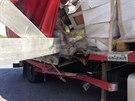 Nehoda dvou nákladních aut zablokovala zhruba na hodinu dálnici D5 ve směru na