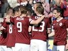 OSLAVY NA LETNÉ. Z gólu se fotbalisté Sparty radovali v utkání proti Olomouci