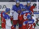 RYCHLÝ ÚDER. Čeští hokejisté se radují z gólu, který vstřelil už v osmé vteřině