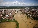 Letecké snímky zaplaveného bosenského města Brčko (18. května)