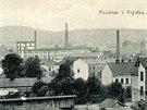 Historick� pohled na Fr�dek s p��delnou firmy A. Landsberger (v pozad�), kter�...