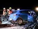 Na 181. kilometru dálnice D1 v noci zasahovali hasiči ze tří profesionálních...