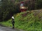 Hasiči vyjeli i k spadlému stromu na železniční trati u obce Staré Město na...
