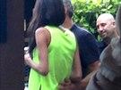 George Clooney a jeho snoubenka Amal Alamuddinová na soukromé akci v Malibu