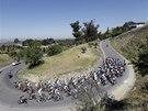 Cyklist� b�hem nejt잚� etapy z�vodu Kolem Kalifornie.