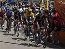 Tým Sky kontroluje pro lídra Bradleyho Wigginse průběh 8. etapy závodu Kolem
