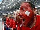 Švýcarští fanoušci během hokejového mistrovství světa v Bělorusku.