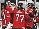 Švýcarští hokejisté slaví triumf nad Německem.