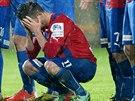 Plzeňský záložník Milan Petržela jen stěží skrýval zklamání po prohraném finále...
