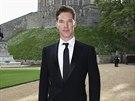 Benedict Cumberbatch na večeři pořádané princem Williamem na zámku ve Windsoru...