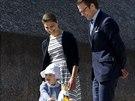 Švédská korunní princezna Victoria, její manžel Daniel  a dcera princezna