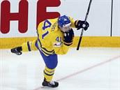 HOLUBIČKA. Švédský hokejový útočník Gustav Nyquist zajímavě oslavil gól proti...