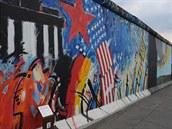Zbytek Berlínské zdi na tzv. East Side Gallery