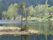 Trasa Bavorským lesem vede i kolem malého Javorského jezera