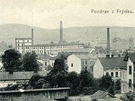 Historický pohled na Frýdek s přádelnou firmy A. Landsberger (v pozadí), která...