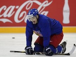 Nová tvář v hokejové reprezentaci Lukáš Kovář na svém úvodním tréninku na