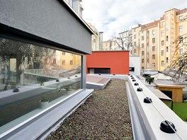 Střecha ateliéru je osázena extenzivní zelení.