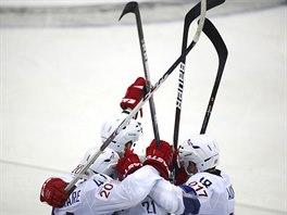 KOHOUTI VE FORMĚ. Hokejisté Francie slaví gól proti Slovensku.