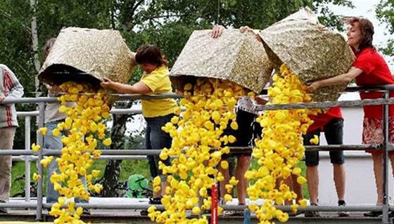 Start adrenalinového závodu plastových kachniček na divoké vodě