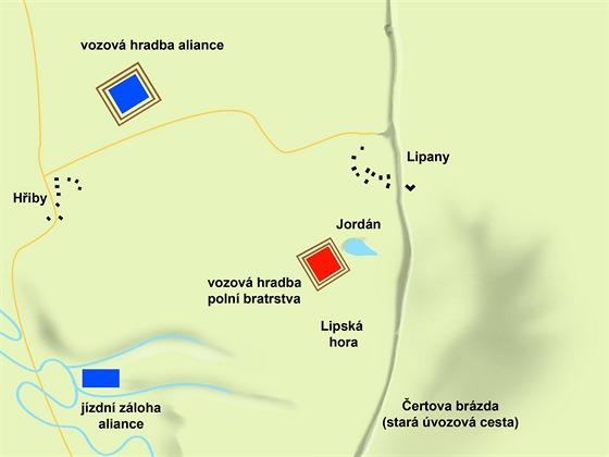 Počáteční situace obou stran u Lipan v pozdním odpoledni dne 30. května.