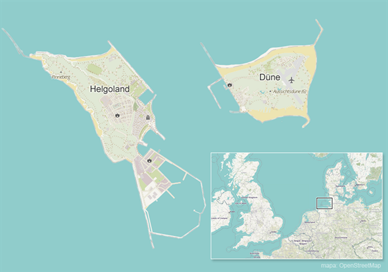Německé ostrovy Helgoland a Düne