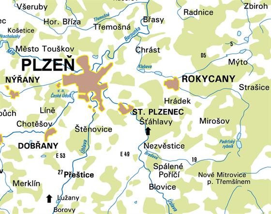 Oblast  východně od Plzně ohrožená rozvodněním řek Klabavy, Bradavy a Úslavy.