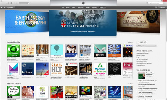 iTunesU nabízí tisíce přednášek různého zaměření i kvalit.