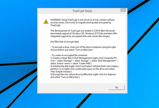 Varování se zobrazí při instalaci i při pokusu o zašifrování dat. Nová verze...