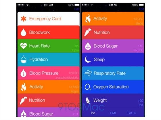 Náhled aplikace Healthbook v iOS 8