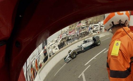 Nico Rosberg s mercedesem ve Velké ceně Monaka.