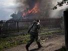 Ho��c� d�m v Luhansk� oblasti (22. kv�tna 2014)