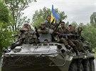 Ukrajinsk� transport�r u obce Blahodatne (22. kv�tna 2014)