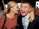 Andrej Babiš s partnerkou slaví výsledky voleb do europarlamentu (25. května...