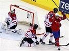 Norský útočník Bastiansen slaví branku v souboji s Kanadou.