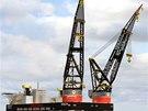 Takto budou vypadat dva námořní jeřáby, které chystá firma Huisman ze Sviadnova