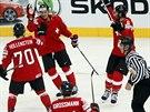 Švýcarský hokejový útočník Damien Brunner (uprostřed) vstřelil gól Lotyšsku a...