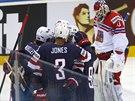 Hokejisté USA ve čtvrtfinále s českým týmem vedli. Tady se radují z prvního...