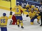 �v�d�t� hokejist� slav� g�l Nicklase Danielssona ve �tvrtfin�le MS proti...
