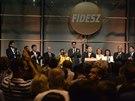 Oslavy výsledků voleb do Evropského parlamentu vládní stranou Maďarska FIDESZ,...
