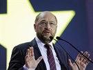 Předseda Evropského parlamentu Martin Schulz reguje na předběžné výsledky voleb...