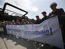Zaměstnanci železáren a oceláren patřících Rinatu Achmetovovi vyšli s...