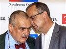 Karel Schwarzenberg a Miroslav Kalousek ve volebním štábu TOP 09 (25. května...