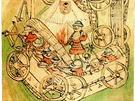 Dobové vyobrazení husitské vozové hradby (německy Wagenburg - vozový hrad) z...