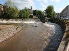 Zvýšená hladina řeky Úpy v Úpici