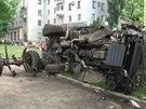 Následky ozbrojeného střetu mezi ukrajinskou armádou a separatisty ze samozvané...