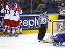 RADOST A ZMAR. Čeští hokejisté se radují z gólu, francouzský gólman polyká