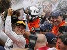 Nico Rosberg slaví triumf ve Velké ceně Monaka.