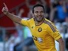 Jihlavský útočník Haris Harba slaví svůj gól.